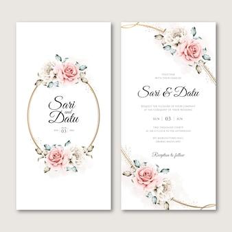 Bloemen krans bruiloft uitnodigingskaart in aquarel stijl