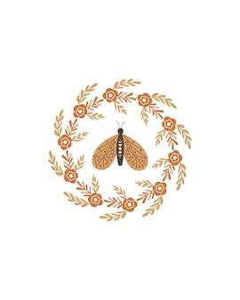 Bloemen krans en vlinder. vector illustratie.