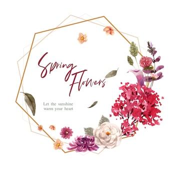 Bloemen krans in aquarel stijl