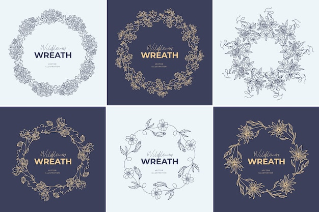 Bloemen krans logo sjablonen set