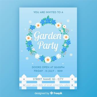Bloemen krans tuinfeest poster