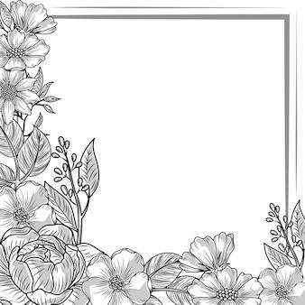 Bloemen laat lege kaart schets