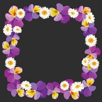 Bloemen leeg frame op zwarte achtergrond