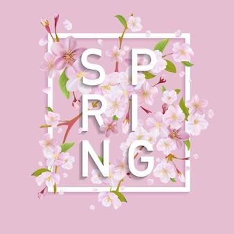 Bloemen lente grafisch ontwerp met kersenbloesem