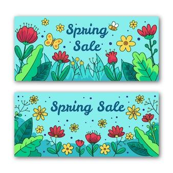 Bloemen lente verkoop banners met vlinder en bijen