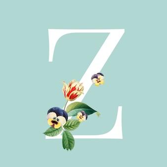 Bloemen letter z ontwerp