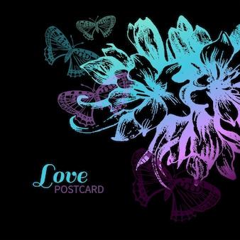 Bloemen liefde kaart. vintage illustratie met handgetekende schets bloemen en vlinders