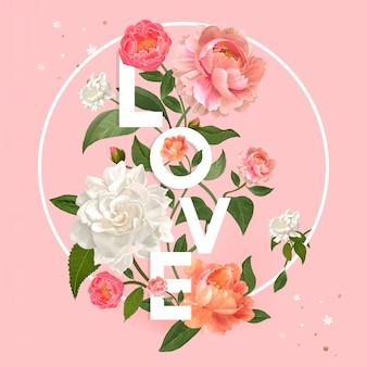 Bloemen liefdesbadge