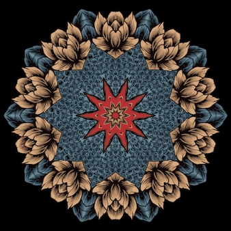 Bloemen mandala-ontwerp. oosterse elementen