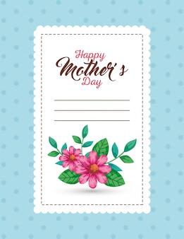Bloemen met bladerenkaart van gelukkige moedersdag over gericht vectorontwerp als achtergrond