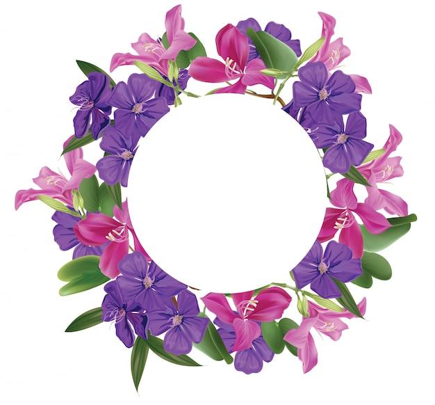 Bloemen met cirkelbanner