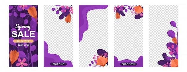 Bloemen met geometrie vormen verhaalsjabloon set
