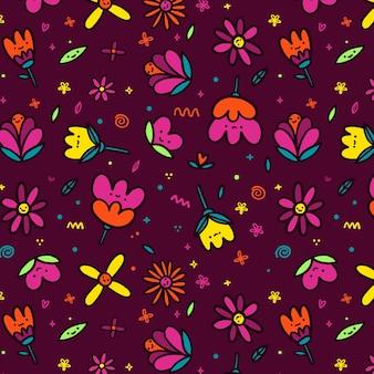 Bloemen met gezichten naadloos patroon