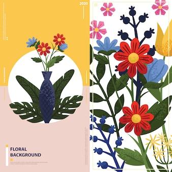 Bloemen met vaas korreleffect shading achtergrond,