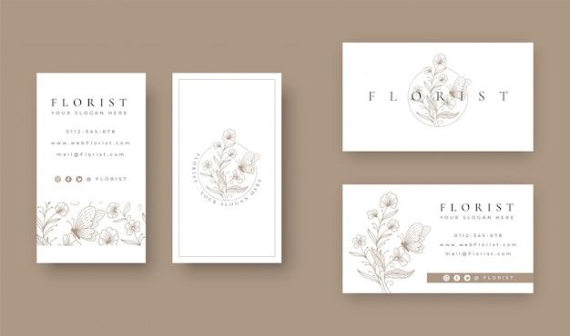 Bloemen met vlinder minimaal logo ontwerp met visitekaartje