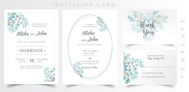 Bloemen moderne bruiloft uitnodigingskaart set
