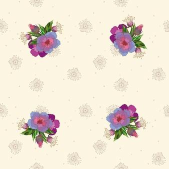 Bloemen naadloos bloemenpatroon op een lichte handgetekende achtergrond