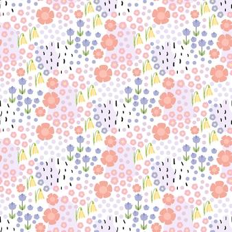 Bloemen naadloos hand getrokken patroon op witte achtergrond