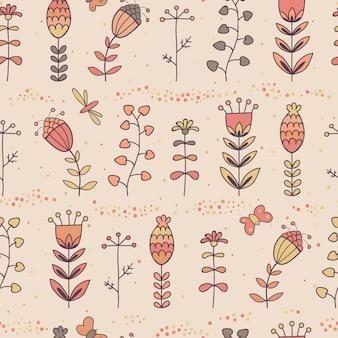 Bloemen naadloos patroon in beeldverhaalstijl.