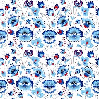 Bloemen naadloos patroon in de stijl van het land