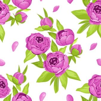 Bloemen naadloos patroon in purpere bloemen. pioenen op witte achtergrond.