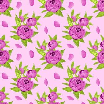 Bloemen naadloos patroon in purpere bloemen. pioenrozen op lichte achtergrond.