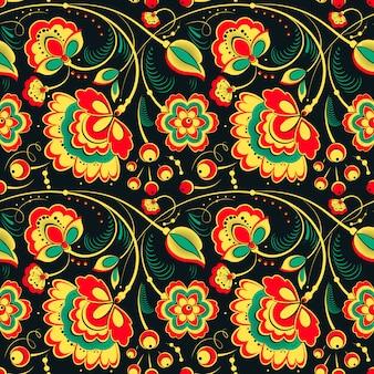 Bloemen naadloos patroon in slavische stijl
