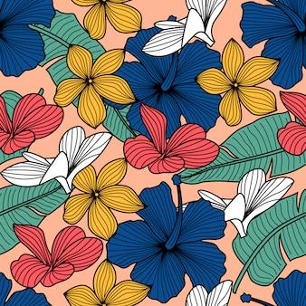 Bloemen naadloos patroon met bladeren. tropische achtergrond
