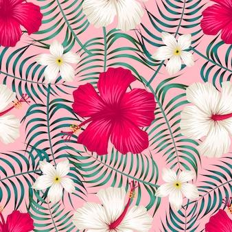 Bloemen naadloos patroon met bladeren tropische achtergrond