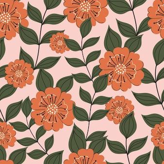 Bloemen naadloos patroon met bloemen en bladeren
