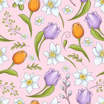 Bloemen naadloos patroon met eieren en gestileerde bloemen
