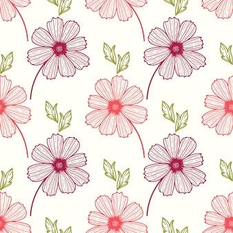 Bloemen naadloos patroon met etnische stijl hand getrokken bladelementen.