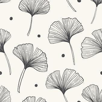 Bloemen naadloos patroon met ginkgobladeren. vectorillustratie.