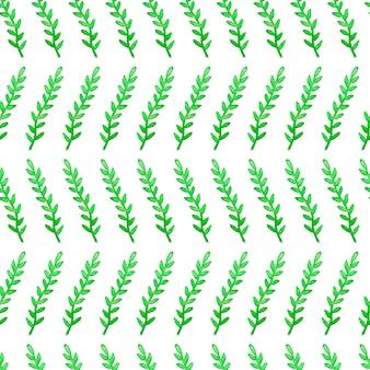 Bloemen naadloos patroon met groene waterverftakken en bladeren