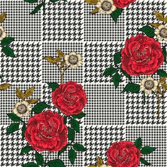 Bloemen naadloos patroon met plaidachtergrond