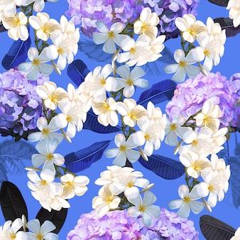 Bloemen naadloos patroon met plumeriabloem