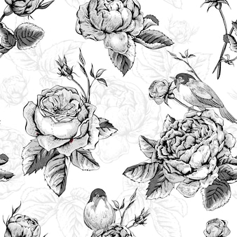 Bloemen naadloos patroon met rozen en vogels