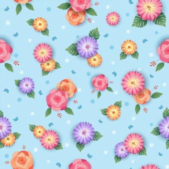 Bloemen naadloos patroonontwerp met roos en madeliefjebloemen op blauw