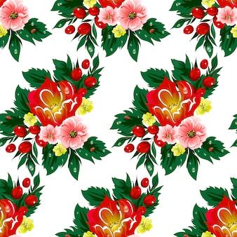 Bloemen naadloos vectorpatroon met bessen