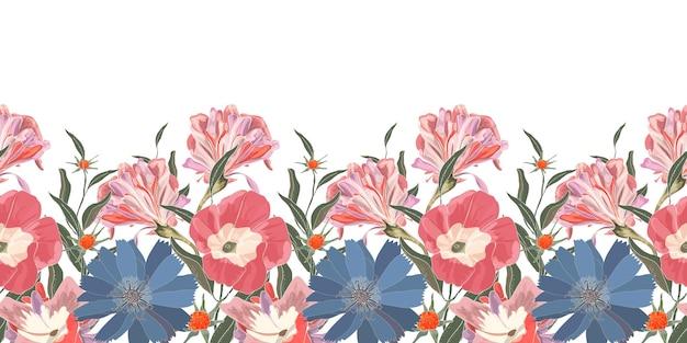 Bloemen naadloze botder met schattige blauwe en roze bloemen. blauwe cichorei, roze ipomoea met groene geïsoleerde bladeren