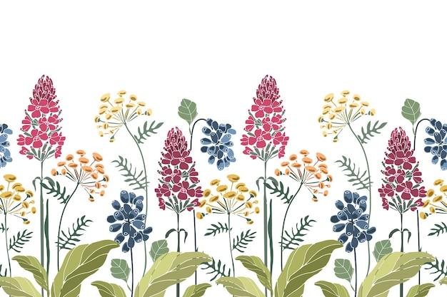 Bloemen naadloze grens. lente zomer bloemen groene bladeren