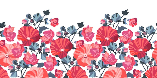 Bloemen naadloze grens. rode, roze kaasjeskruid bloemen, blauwe bladeren.