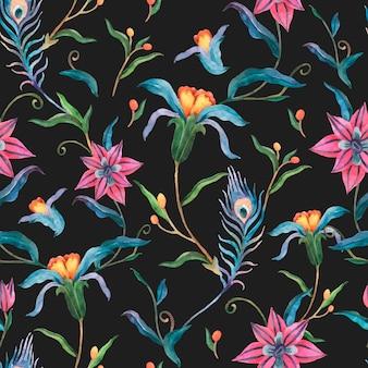 Bloemen naadloze patroon achtergrond