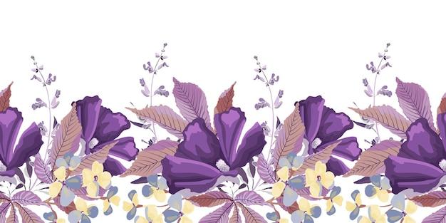 Bloemen naadloze rand met bladeren