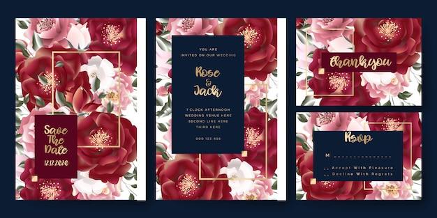 Bloemen nam huwelijk bewaar de de uitnodigingskaarten van de datum toe