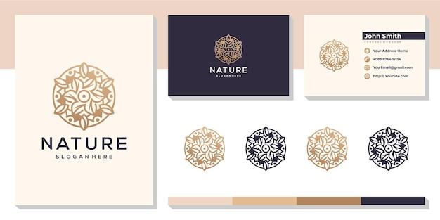 Bloemen natuurblad logo met sjabloon voor visitekaartjes