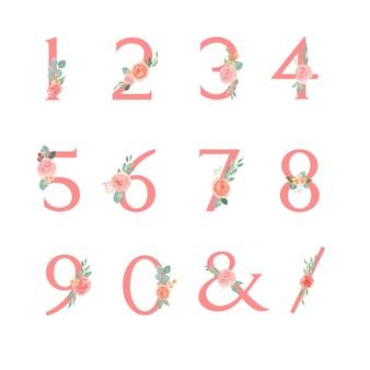 Bloemen nummer serif lettertype typografisch