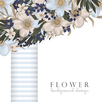 Bloemen ontwerpen rand - lichtblauwe bloemen