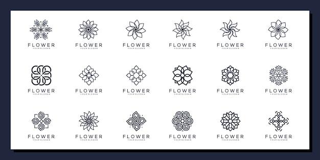 Bloemen ornament logo set