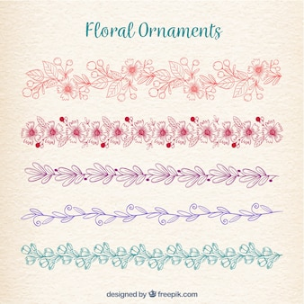 Bloemen ornamenteninzameling in monolines